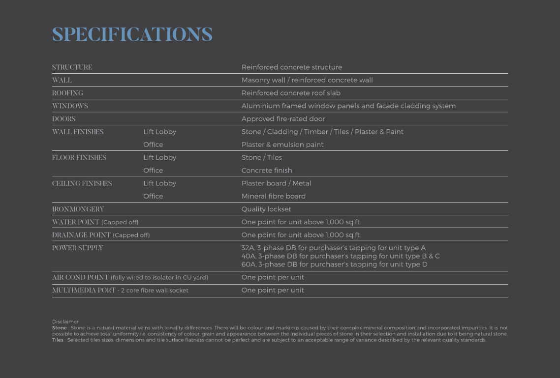 Signature-Offices-Specifications